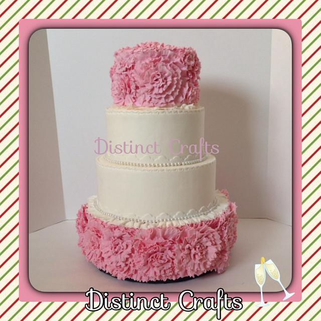 Faux Wedding Ruffle Flowers Cake
