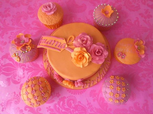Pink and Orange mini cake with accessories