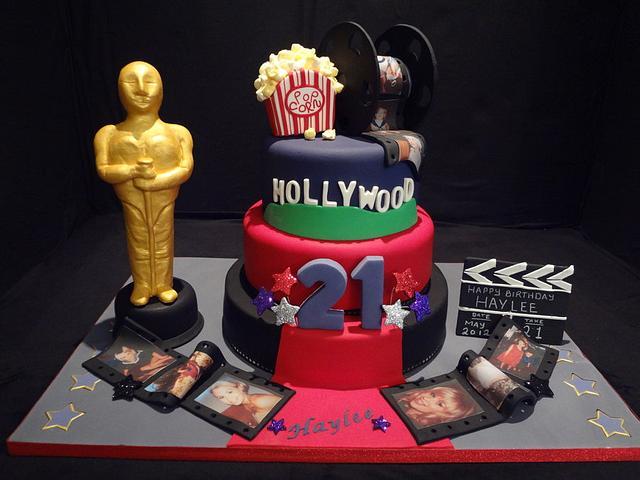 Enjoyable Hollywood Themed 21St Birthday Cake Cake By Julie Anne Cakesdecor Funny Birthday Cards Online Alyptdamsfinfo