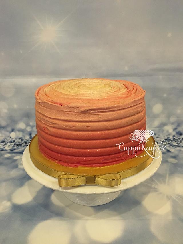 Five-layer ombré buttercream cake