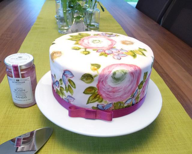Hand painted birthday cake inspired by Natasha Collins