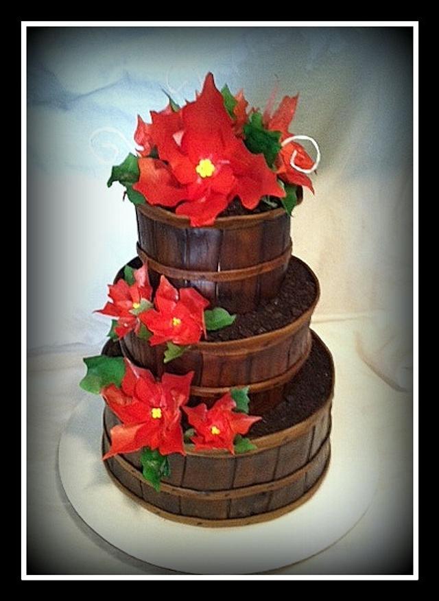 Baskets of Poinsettias Retirement Cake