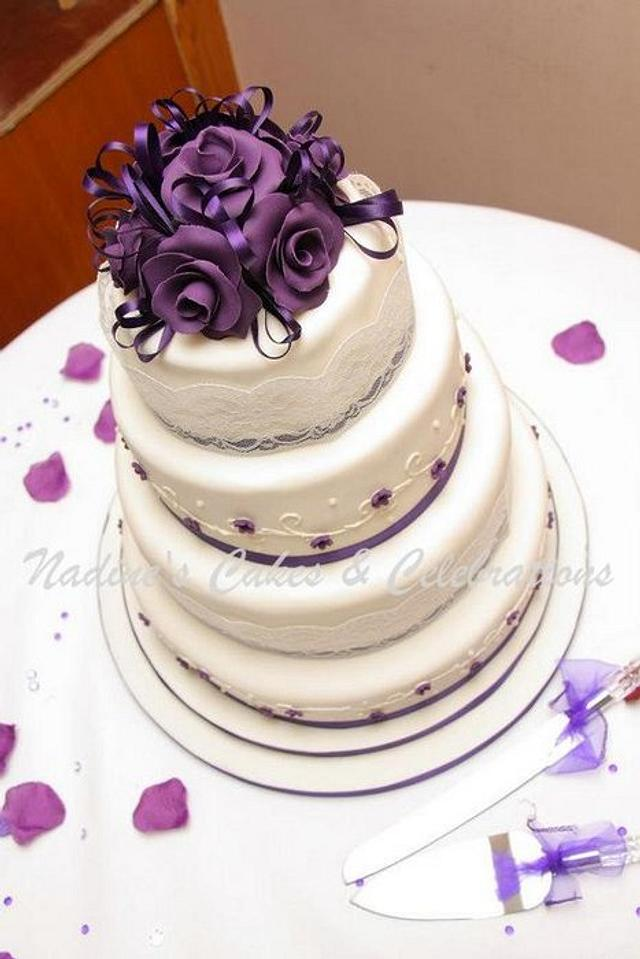 Dark Purple and Ivory Wedding Cake
