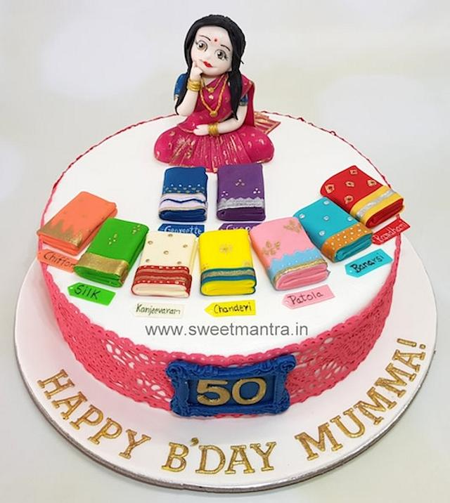 Amazing Customized Cake With Lady Confused Over Lots Of Sarees Cakesdecor Funny Birthday Cards Online Aeocydamsfinfo