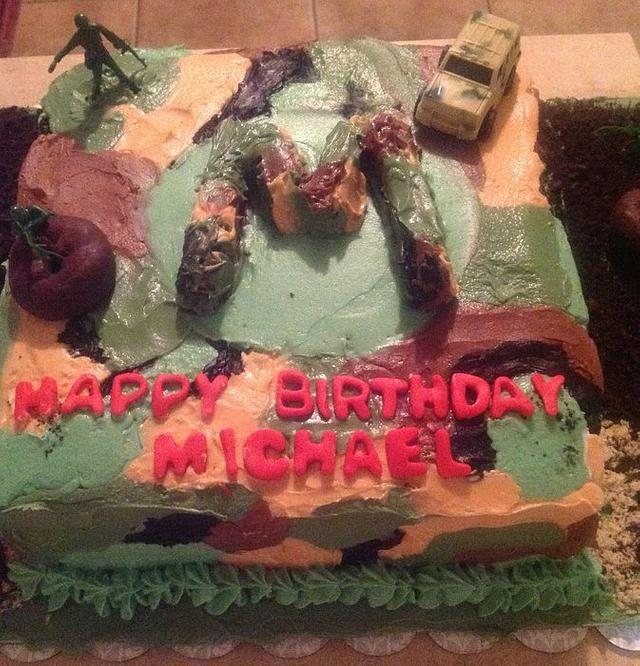 Awe Inspiring Camouflage Birthday Cake Cake By Concierge Confections Cakesdecor Funny Birthday Cards Online Overcheapnameinfo