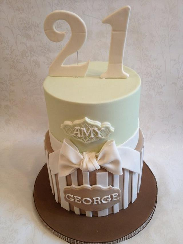 Stripes and bow cake