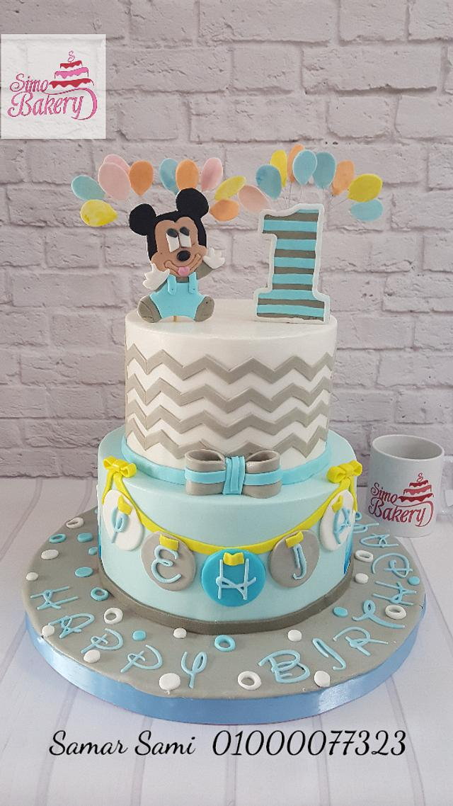 Swell Mickey Mouse 1St Birthday Boy Cake Cake By Simo Bakery Cakesdecor Personalised Birthday Cards Veneteletsinfo