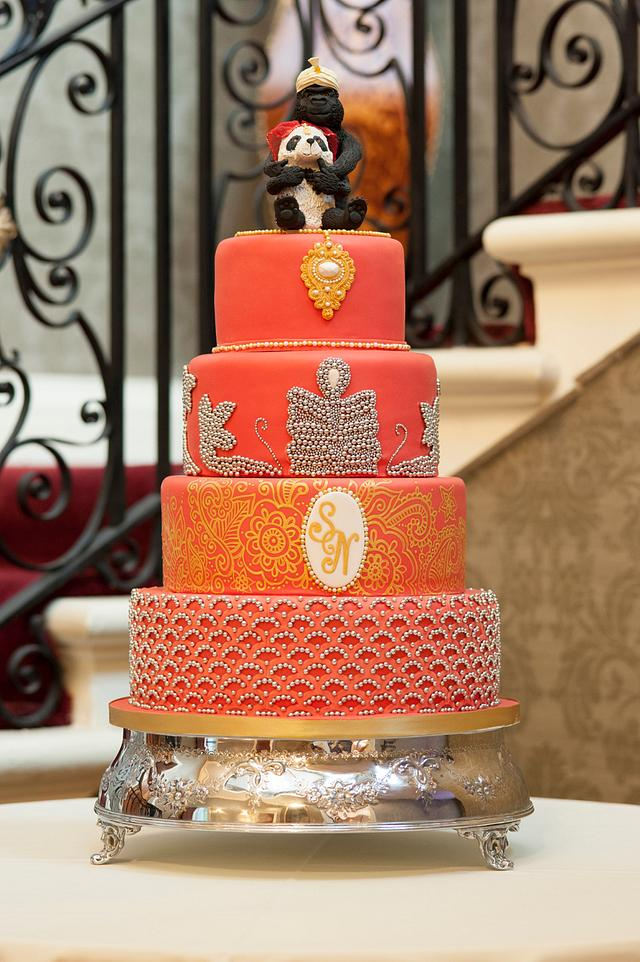 Red Wedding Cake inspired by Bride's Dress