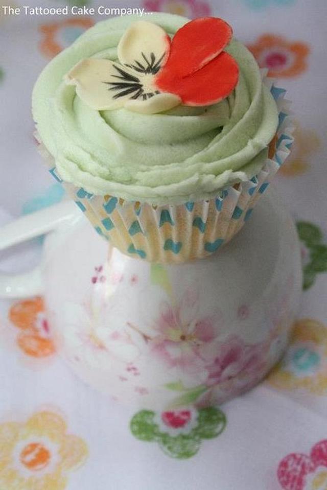 Handmade pansy topper cupcake