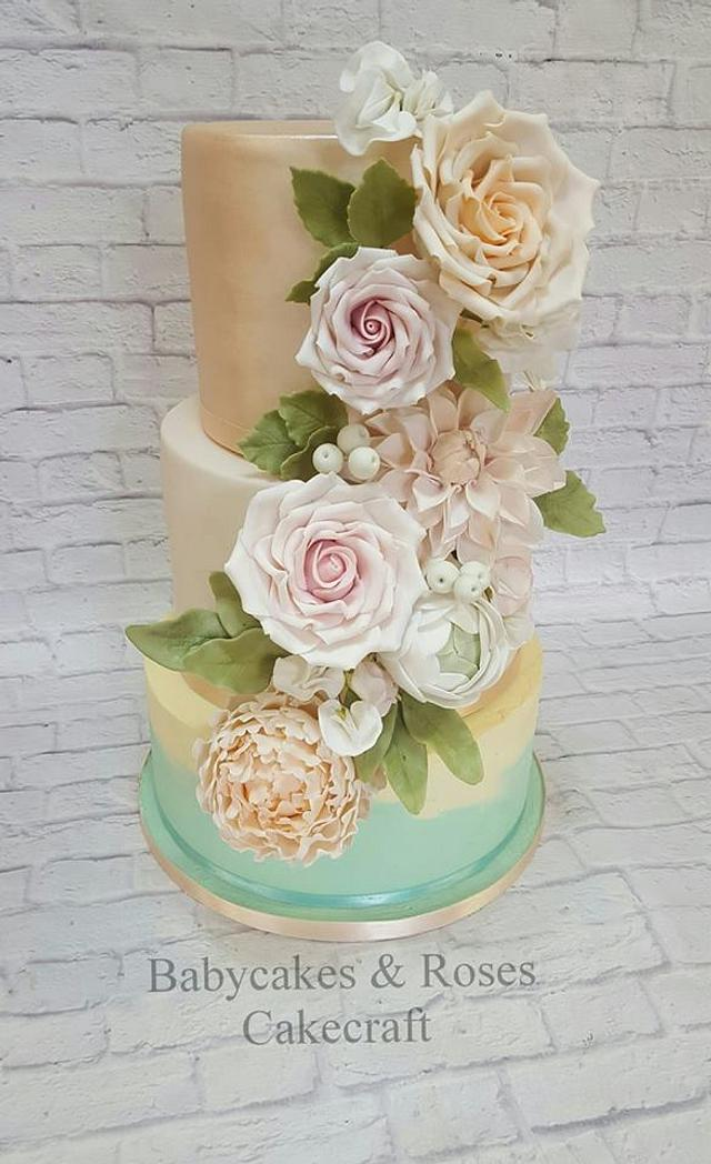 SUMMER FLORAL CASCADE WEDDING CAKE