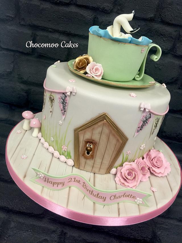 Superb Alice In Wonderland Birthday Cake Cake By Chocomoo Cakesdecor Funny Birthday Cards Online Alyptdamsfinfo