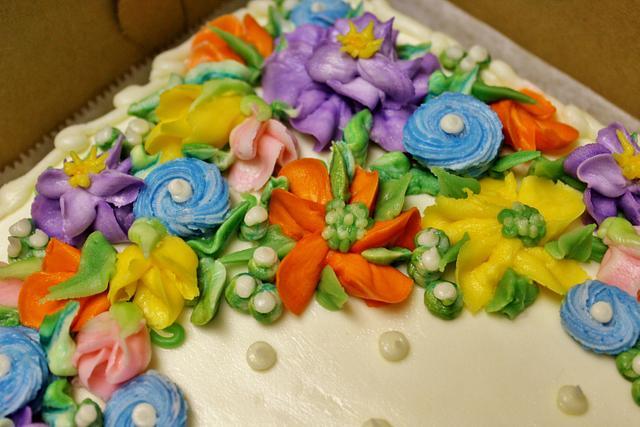 70th floral birthday cake buttercream