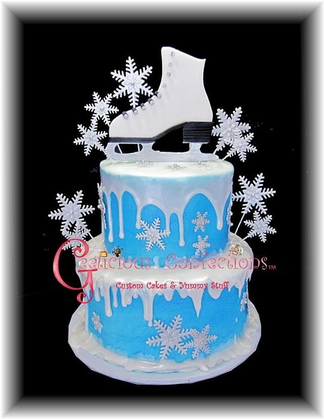 Wondrous Ice Skate Snowflake Themed Birthday Cake Cake By Cakesdecor Personalised Birthday Cards Petedlily Jamesorg