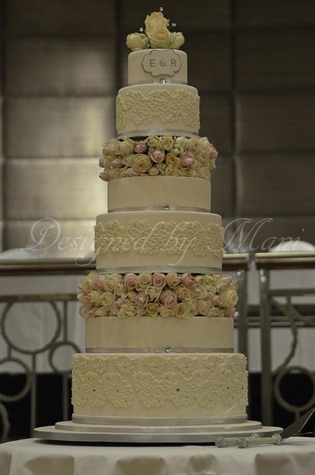 lace work wedding cake