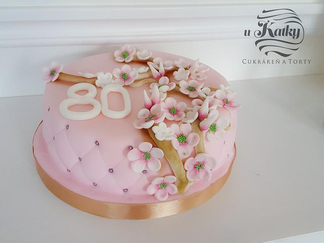 Gentle cake with cherry flowers
