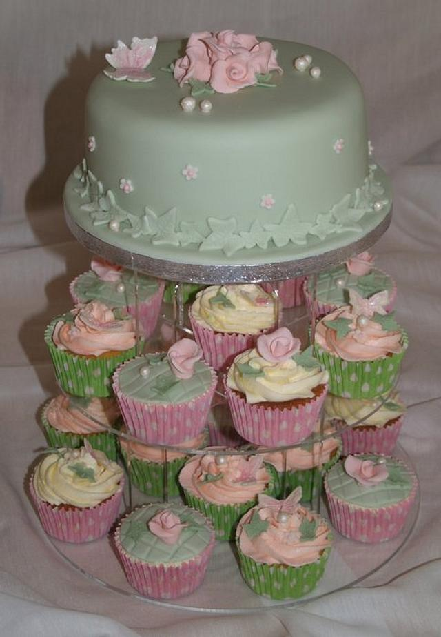 vintage cupcake tower with cutting tier