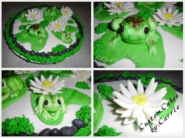 Hand painted Froggie Cookie Cake