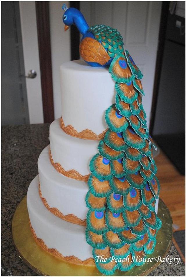 Peacock theme Diwali cake