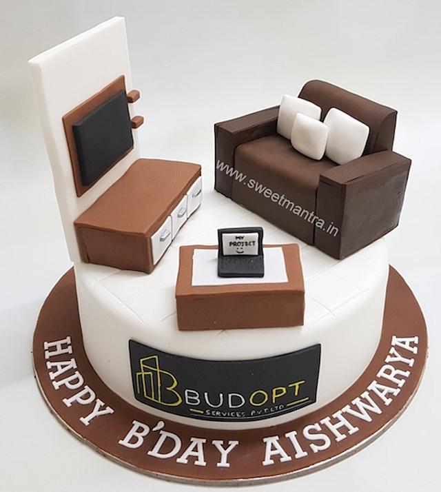 Admirable Customized Living Room Designer Cake For An Interior Cakesdecor Birthday Cards Printable Benkemecafe Filternl