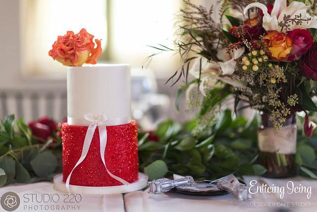 Fire Rose + Red Glitter Cake