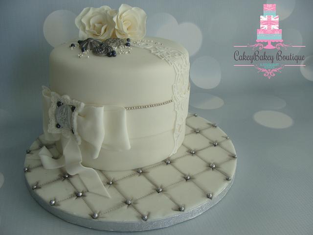 White Vintage Birthday Cake