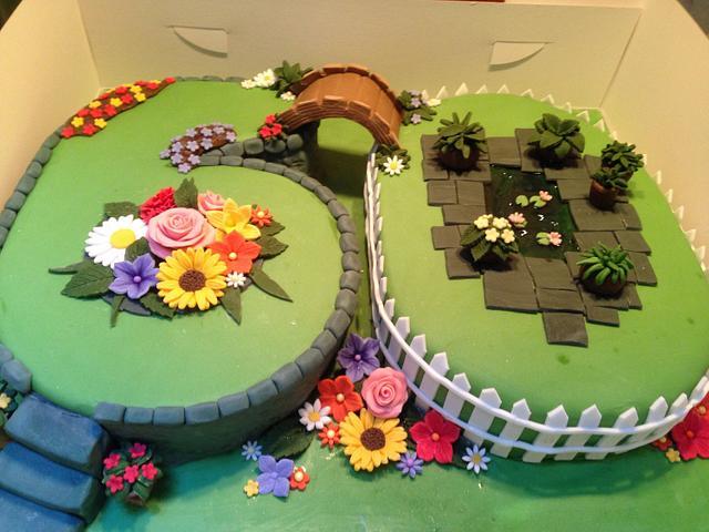 Garden cake for a 60th birthday