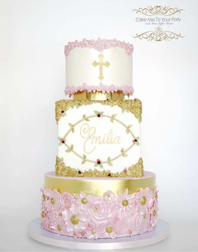 Pink and Gold Christening Cake