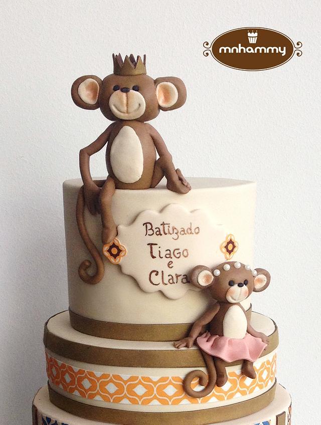 little monkey's baptism cake!