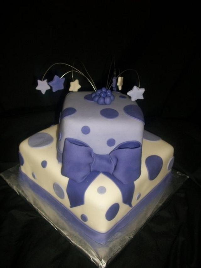 White and purple polka dot