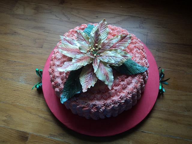Christmas Cheesecake with poinsettia