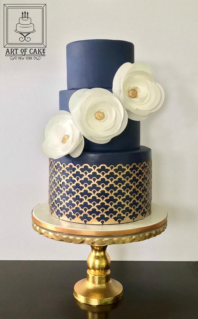 Peachy Navy Gold Birthday Cake Cake By Akademia Tortu Magda Cakesdecor Funny Birthday Cards Online Inifodamsfinfo