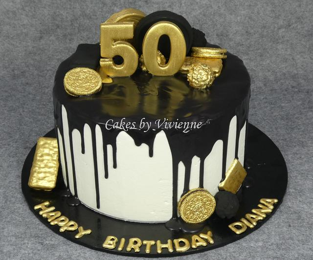 Peachy Black And Gold 50Th Birthday Cake Cake By Cakes By Cakesdecor Funny Birthday Cards Online Barepcheapnameinfo