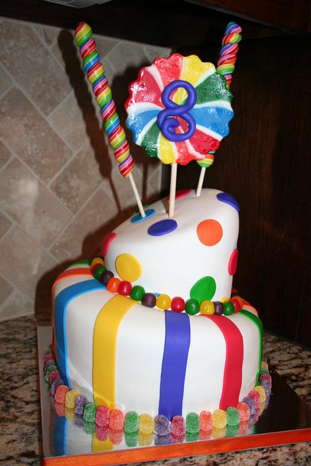 Lollipops and gum drops cake
