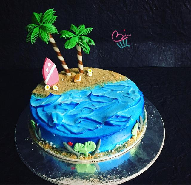A beach themed cake.