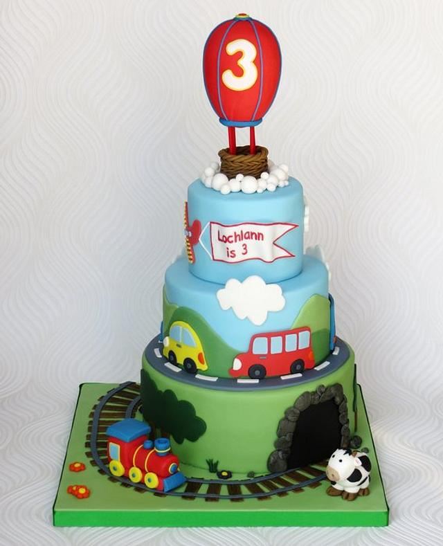 Transport Cake with Hot Air Balloon