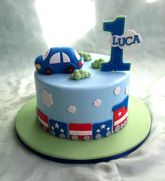 Admirable Little Train And Car Themed Birthday Cake Cake By Cakesdecor Personalised Birthday Cards Veneteletsinfo