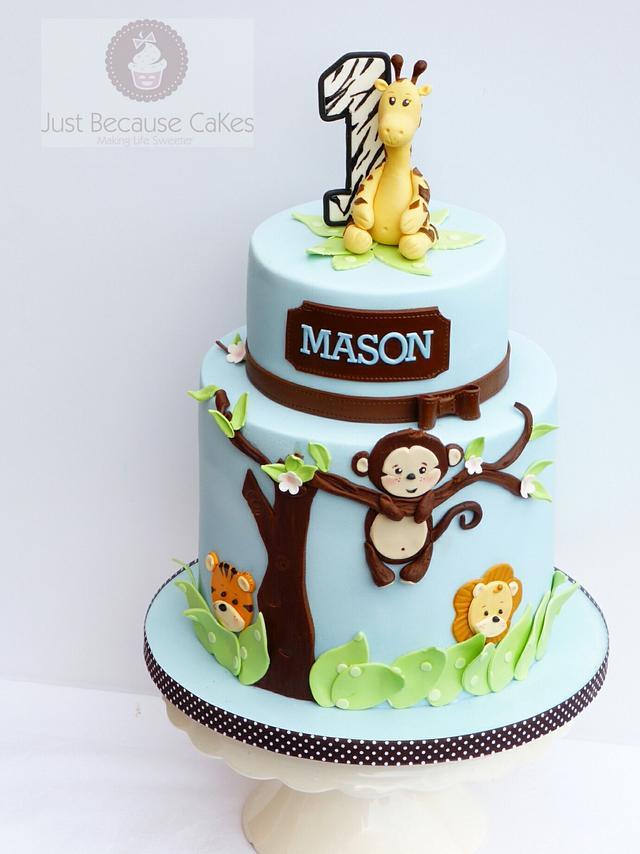 Amazing First Birthday Monkey Cake Cake By Just Because Cakes Cakesdecor Personalised Birthday Cards Veneteletsinfo