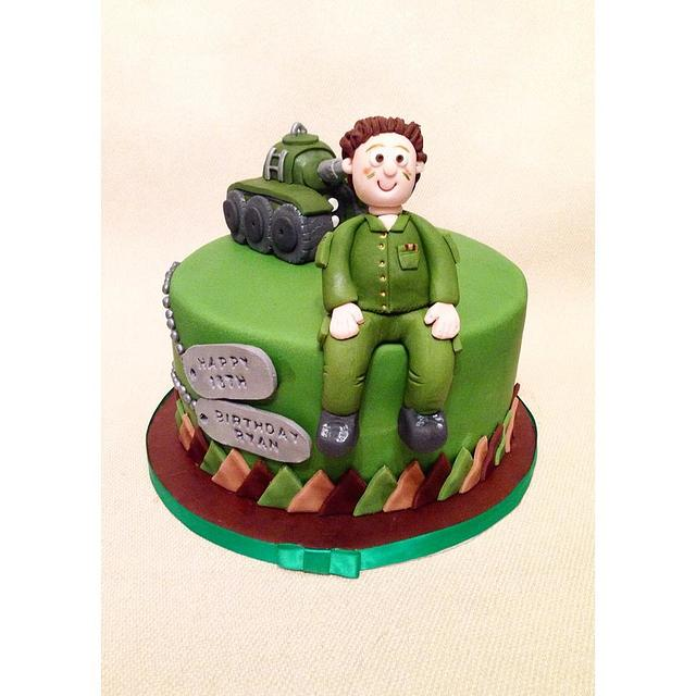 Terrific Army Themed Birthday Cake Cake By Beth Evans Cakesdecor Funny Birthday Cards Online Aeocydamsfinfo