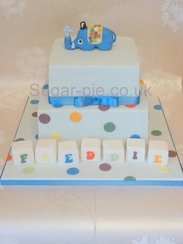 spotty dotty elephant christening cake