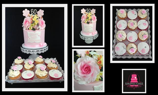 Pink Roses Anniversary Cake