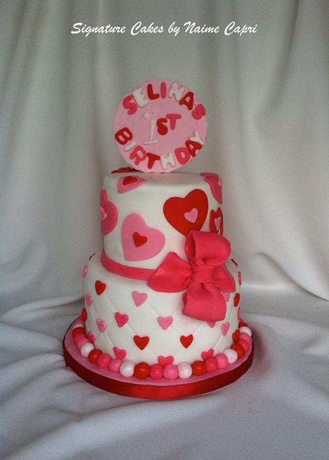 Admirable Valentine Themed First Birthday Cake Cake By Cakesdecor Funny Birthday Cards Online Fluifree Goldxyz