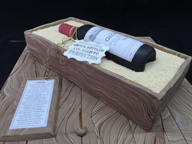 Wine bottle and wooden crate