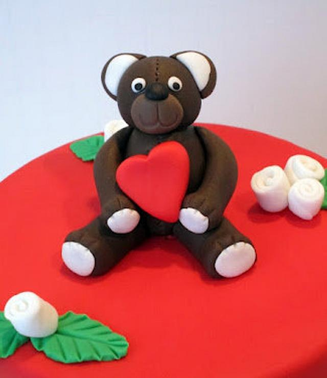 Valentine's Day Teddy Bear Cake