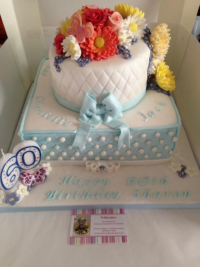 Flowers, diamonds and pearls 60th birthday cake