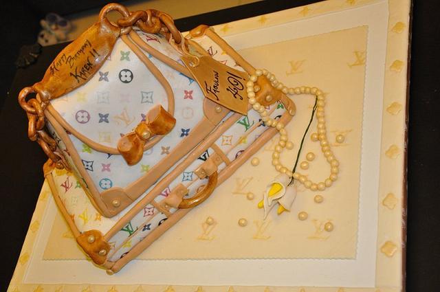 LV handbag and suitcase cake
