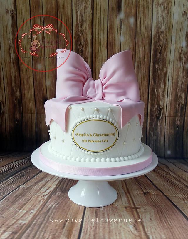 PINK BOW CHRISTENING CAKE