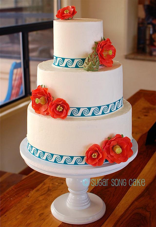 Southwestern Wedding Cake with Cactus Flowers