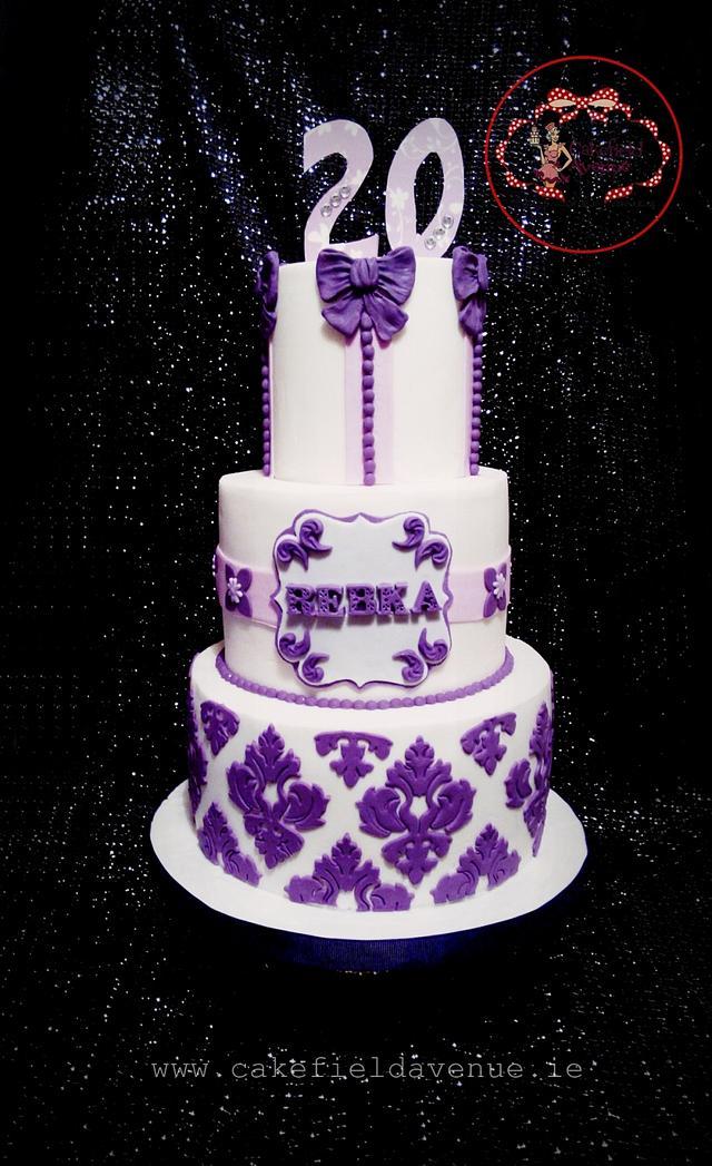 Incredible White And Purple Birthday Cake Cake By Agatha Rogowska Cakesdecor Personalised Birthday Cards Arneslily Jamesorg
