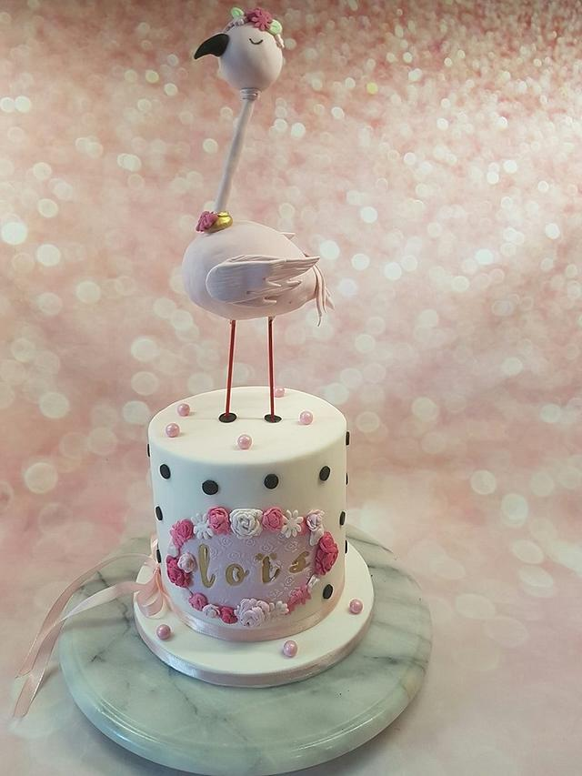 Flamingo cake for baby Lois+