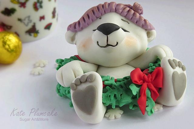 Christmas polar bear cub